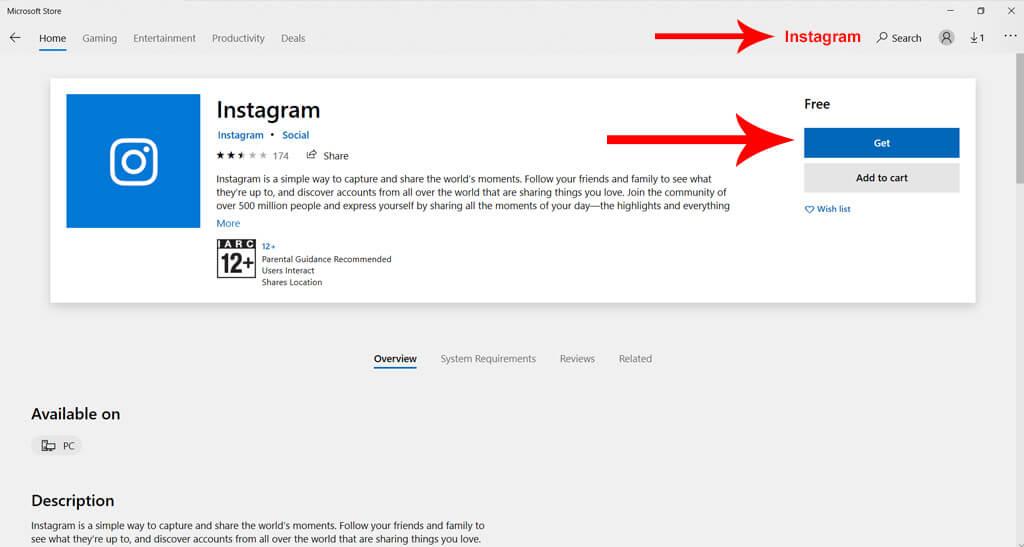 Post on Instagram from Windows Desktop App